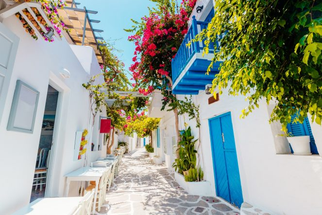 Traditional,Greek,Street,On,Paros,Island,,Greece
